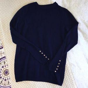 Zara Knit Crew Neck Sweater Embellished Sleeves